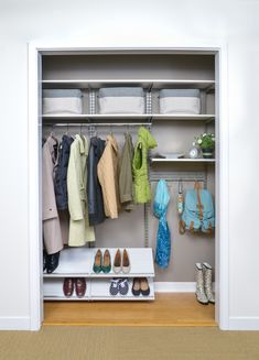 Gain Space in Hall Closets - freedomRail in Snowdrift LiveThe average hall closet is about wide, so one rod and shelf is usually not enough. Add additional shelves, Slanted Shoe Racks and Spanners with hooks to maximize every inch of space. Entryway Storage, Laundry Room Organization, Home Office Organization, Cupboard Storage, Storage Spaces, Storage Ideas, Storage Systems, Closet Design Tool, Walk In Closet Design