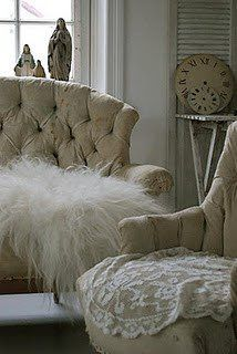 Lace and tufted chairs