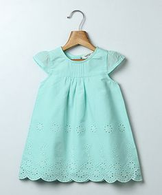 Look what I found on #zulily! Turquoise Eyelet A-Line Dress - Infant, Toddler & Girls #zulilyfinds