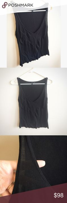 """Gucci V-Neck Top Excellent condition. Beautiful, elegant black low-cut v-neck top by Gucci. Sheer. Very soft and stretchy. Size Medium. 100% Seta Silk. Armpit to armpit: 14"""" with extra stretch. Length from top to bottom: 20"""". Gucci Tops"""