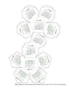 An Overleaf-themed dodecahedron calendar! Some customisations possible e.g. language, day headings (or not), whether Sunday starts the week, some minimal co... 2018