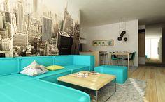 Návrh interiéru obývačky v štýle New York. Interiérový diazjn od Kivvi architects - Living room interior design by www.kivvi.sk