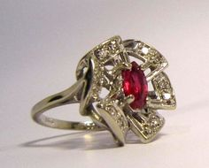 Gorgeous 14K Vintage Ruby and Diamond Ring by LobeliaBlueJewellery, £500.00