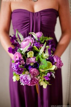 Plum, Lavender, and Green Bouquet by JanieMedley