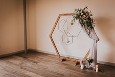 Wooden Hexagonal Arch with Hanging Geometric Hoops and Romantic Blush Pink and Greenery Flowers Geometric Wedding, Floral Wedding, Wedding Colors, Rustic Wedding, Boho Wedding, Wedding Aisles, Wedding Backdrops, Wedding Ceremonies, Ceremony Backdrop