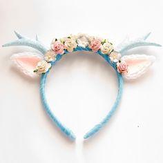 Image of Blue Floral Deer Headband