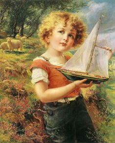 """Emile Vernon (French, 1872-1919), """"The toy boat"""" vintage"""