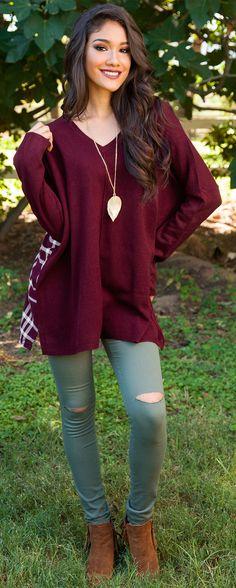 Maxine Oversized Plaid Sweater - Burgundy
