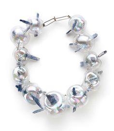 Federica Sala Necklace: Unbearable Lightness, 2015 (From series: True Lies) Glass, cianite, silver 20 x 20 x 7 cm