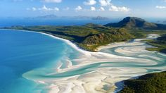 Aerial shot of Whitehaven Beach, Whitsunday Island off Queensland, Australia