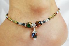 Anklet Ankle Bracelet Emerald Green Sapphire by ABeadApartJewelry, $13.50