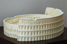 A chocolate sculpture of the Colosseum, created by Italian chocolatier Mirco Della Vecchia