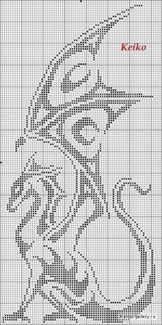 Dragon cross stitch by Mudgey might have to make into a crochet pattern....