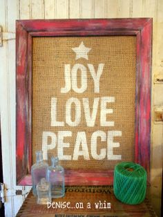 Painted Christmas sign on burlap with a festive red frame | Denise... On a Whim