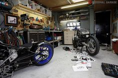 """Rno Cycles """"Office"""" http://goodhal.blogspot.com/2013/03/garage-011.html #Garage #Motorcycle #RnoCycles"""