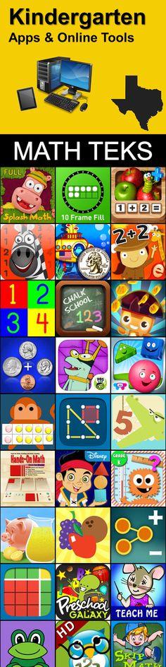 List of Kindergarten Math iPad apps & online tools broken down for every TEKS.