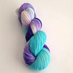 Hand Dyed Yarn Pandora Sparkle Sock Yarn by YarnLoftbyJulia, $28.00