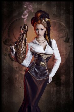 Steampunk its more than an aesthetic style, it's the longing for the past that never was. In Steampunk Girls we display professional pictures, and illustrations of Steampunk, Dieselpunk and other anachronistic 'punks. Some cosplay too! Moda Steampunk, Steampunk Couture, Viktorianischer Steampunk, Steampunk Kunst, Steampunk Clothing, Steampunk Fashion, Gothic Fashion, Steampunk Cosplay, Diesel Punk