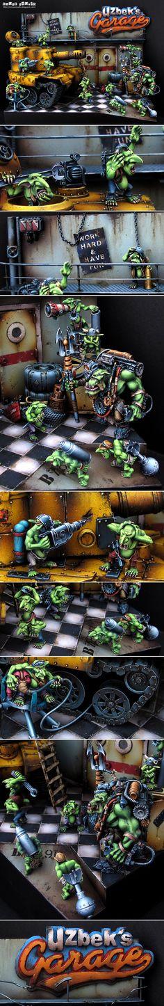 Ork Mek Worshop Diorama - Work Hard and Have Fun.