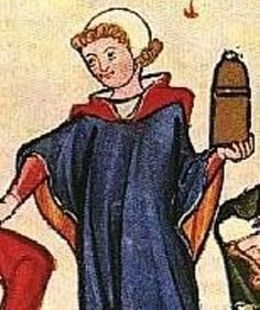 Early middle ages: red cote with a cyclas surcote. a garnache is worn over.