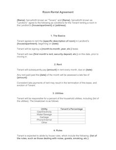 Use this contract when renting out a room in your home to another individual. Free to download and print