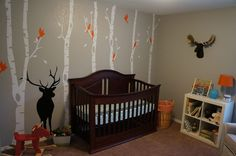 Gray Woodland Nursery with Wall Decals