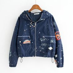 Fabric: blended fabric Colors: navy Size: S, M, L S: Bust: 124cm, Length: 49cm, Sleeve: 62cm M: Bust: 128cm, Length: 50cm, Sleeve: 64cm L: Bust: 132cm, Length: 51cm, Sleeve: 66cm - Online Store Powered by Storenvy