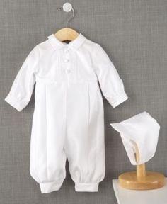 Lauren Madison Baby Romper, Baby Boys Full Length Christening Romper with Matching Hat - White 0-3 months