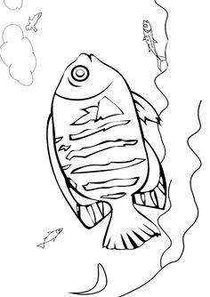 Free Online Printable Kids Colouring Pages - Flounder Fish Colouring Page