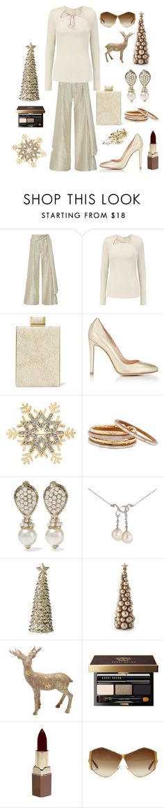 """A holiday in Gold"" by kotnourka ❤ liked on Polyvore featuring Oscar de la Renta, Halston Heritage, Gianvito Rossi, Charter Club, Nest, Valentino, Tiffany & Co., Lene Bjerre, M&Co and Bobbi Brown Cosmetics"