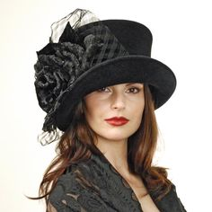 Louise Green black profile top hat :  wide brim hat crowns straw hat vintage hats