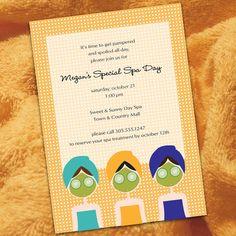 DIGITAL PRINTABLE FILE - Spa Birthday Party Invitation, Girls, Spa Day, Girl Birthday, Spa Invitation