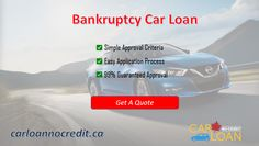 Qualify for auto loan bankruptcy and you can get a second chance to rebuild your lost financial credibility. CarLoannoCredit offers bankruptcy car loans at affordable rates in Canada. Visit us to know more.