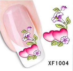 Nagelsticker water transfer XF 1004, Restposten, Herzen, Blumen, rot, rosa, grün