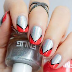 [Chevron Nails With Holographic Polish] Gorgeous with the extra saturated bright tip color. Holo Nail Polish, Nail Polish Brands, Aztec Nails, Chevron Nails, Powder Nails, Holo Powder, Holographic Nail Powder, Half Moon Manicure, Color Block Nails