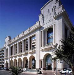 Art Deco facade, Hotel Palais de la Mediterranee built in 1930 in Nice, France