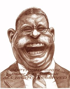 Theodore Teddy Roosevelt Limited Edition Caricature Art Print by Peter J. Battaglioli #battagliolistudios #caricatures