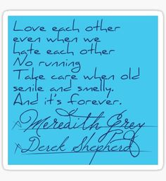 The post it that Derek Shepherd and Meredith Grey signed for their marriage.