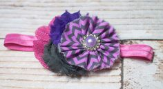 Very Berry - headband in purple, lavender, grey and fuchsia pink by SoTweetDesigns