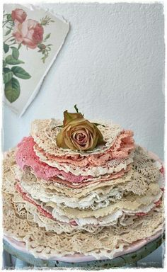 Doilies! It would look great in a cake dome.
