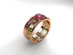 Pink sapphire ring Rose gold filigree yellow от TorkkeliJewellery