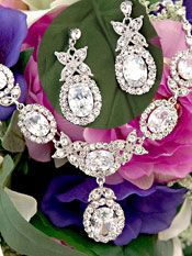 Bridal Jewelry Set with Cubic Zirconia and Crystals