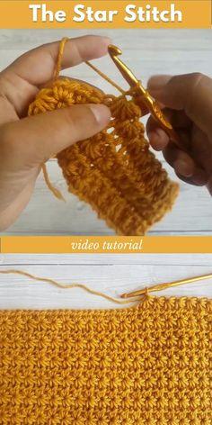 Crochet Star Stitch, Easy Crochet Stitches, Crochet Stitches For Beginners, Crochet Videos, Crochet Basics, Crochet Blanket Patterns, Pull Crochet, Crochet Cord, Crochet Baby