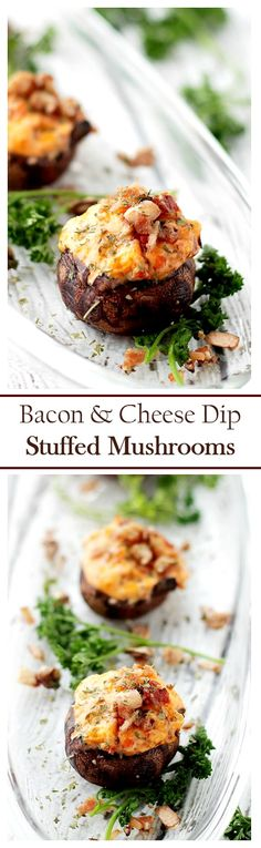 These creamy, rich and cheesy Stuffed Mushrooms are bursting with a delicious mixture of chunky salsa, crispy bacon and melted cheese.