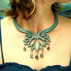 Labradorite Blue Leather Necklace by TwilightandFiligree on Etsy, $108.00