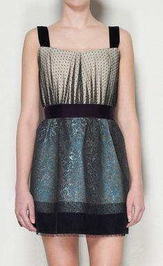 Philosophy di Alberta Ferretti Beige, Purple, Black And Dark Green Dress | VAUNTE $130