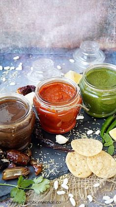 Chaat chutneys for Indian chaat snacks. Spicy red chilli garlic chutney, coriander-mint chutney and date-tamarind chutney recipe. Pani Puri Recipe, Chaat Recipe, Biryani Recipe, Garlic Chutney, Tamarind Chutney, Green Chutney, Indian Sauces, Indian Dishes, Dates