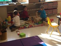 Our PreK students making creations this morning.  Future architects.