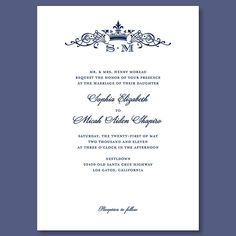 Crown Monogram Wedding Invitation. This elegant-yet-affordable option features a similar crown and monogram combination surrounded by ornate flourishes. Crown Monogram invitation, $179 for 100 invitations, Wedding Paper Divas