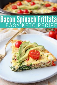 Looking for a quick and easy, keto breakfast idea? Try this Bacon Spinach Frittata Recipe with Goat Cheese! It's delicious, low carb and gluten free! Goat Cheese Recipes, Bacon Recipes, Brunch Recipes, Keto Recipes, Easy Frittata Recipe, Frittata Recipes, Spinach Frittata, Gluten Free Recipes For Breakfast, High Protein Recipes